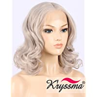 K'ryssma Grey Lace Front Wig Half Hand Tied Middle Part Short Bob Wavy Silver Lace Wig for Women Glueless Heat Resistant Gray Synthetic Wig