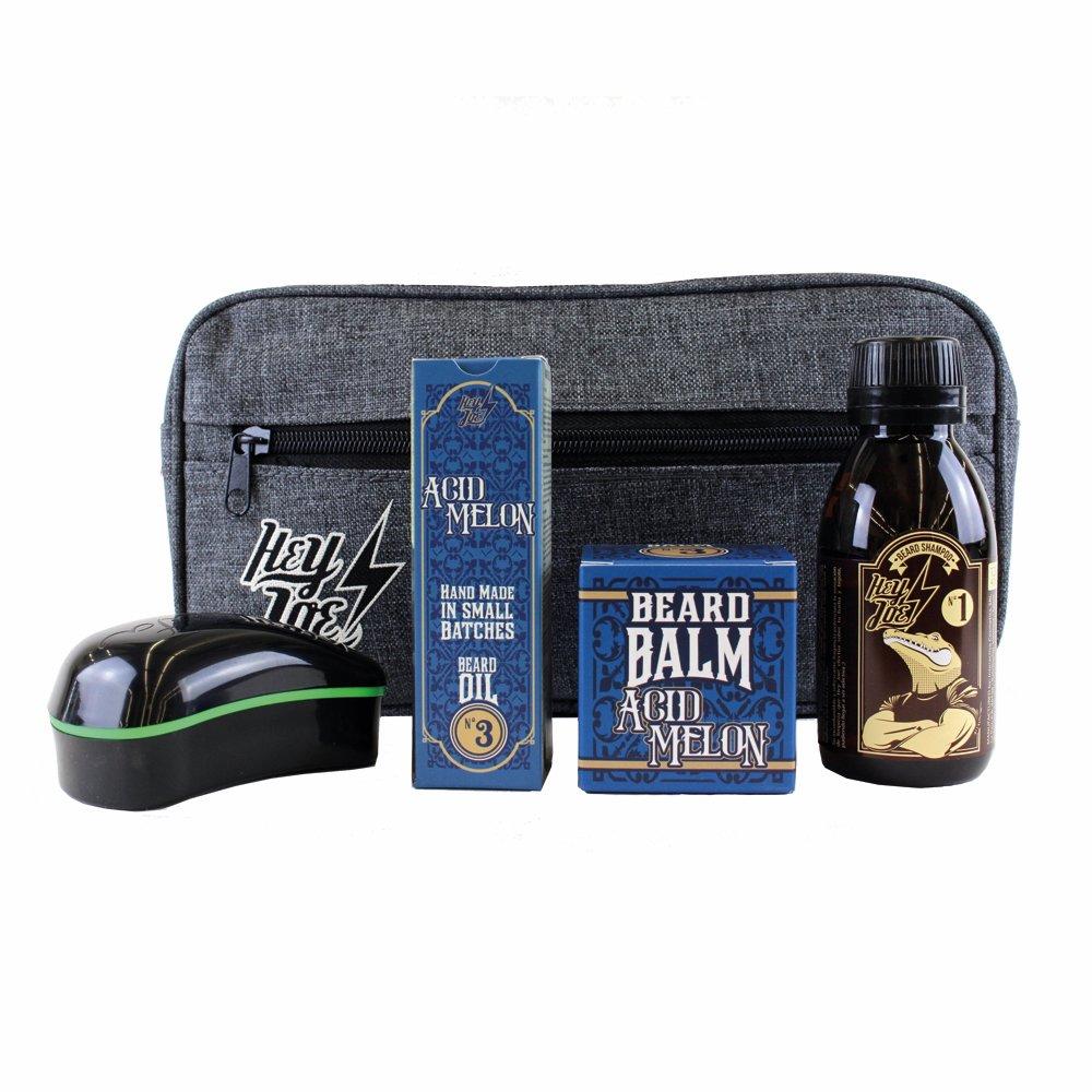 HEY JOE - Bearded Survival KIT Deluxe Nº 3 | Kit de arreglo barbas que incluye: aceite, balsamo, champú, cepillo para barba y neceser de regalo INTERACTIVE COSMETICS SRL