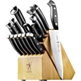 HENCKELS Statement Kitchen Knife Set with Block, 15-pc, Chef Knife, Steak Knife set, Kitchen Knife Sharpener, Light Brown