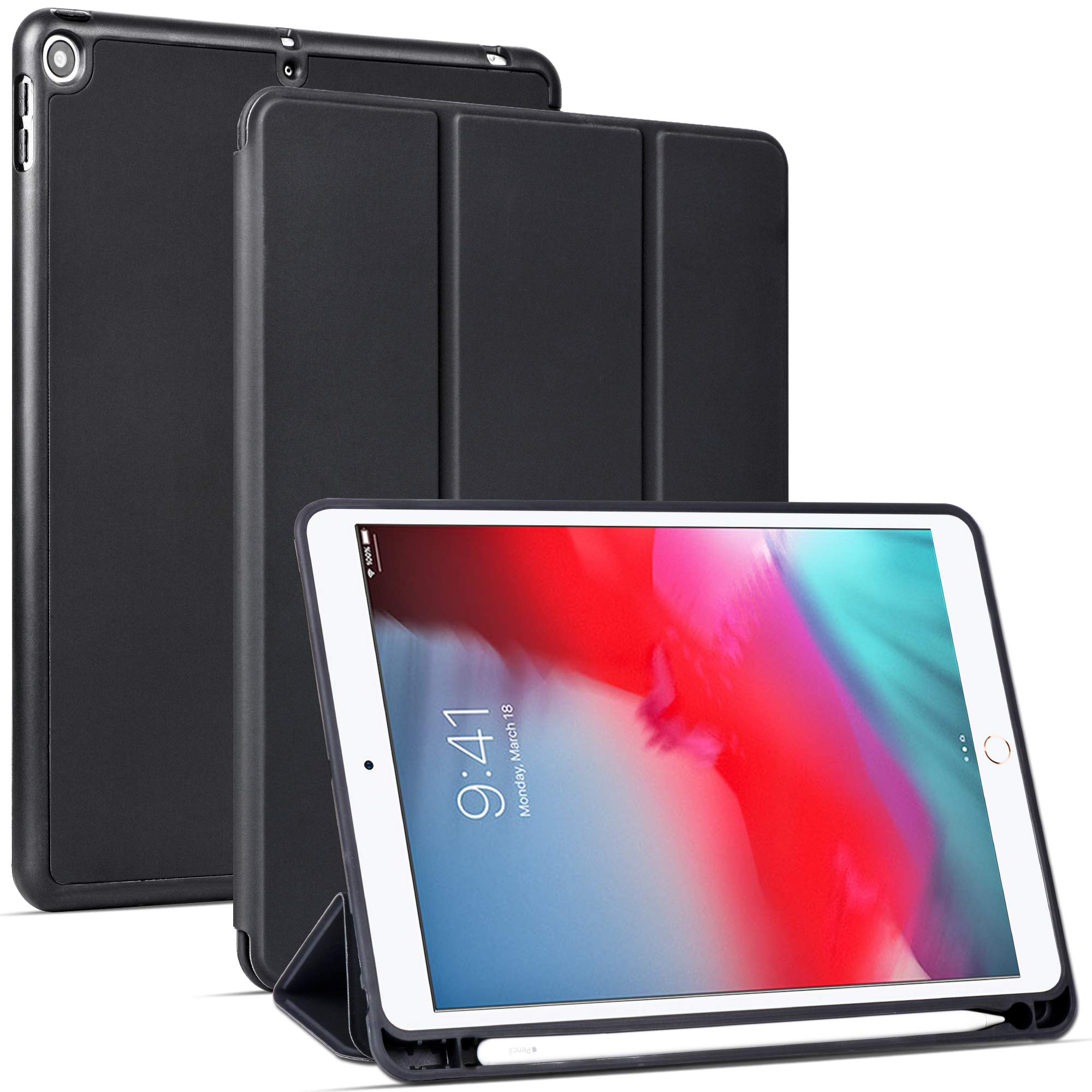 Arae Case for iPad Mini 5 - Flip Folio [Kickstand Feature] PU Leather Wallet case Cover with auto Sleep/Awake Function - Black