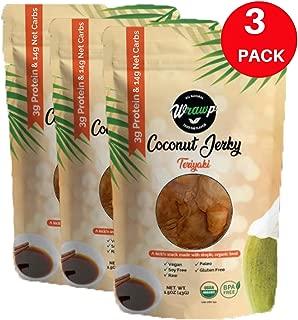 product image for Wrawp Coconut Jerky   100% Plant Based Vegan and Raw Coconut Meat Jerky   Gluten Free, Paleo, Vegetarian, and Vegan Jerky Strips (Teriyaki, 3 Pack)