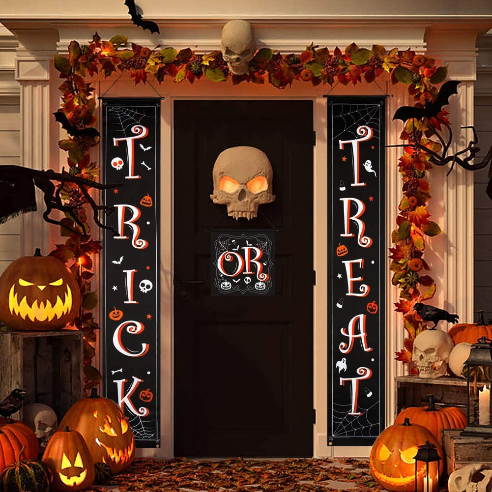 Besteek Trick or Treat Banner, Halloween Decorations Outdoor Halloween Banner for Front Door Home Office Halloween Porch Decorations