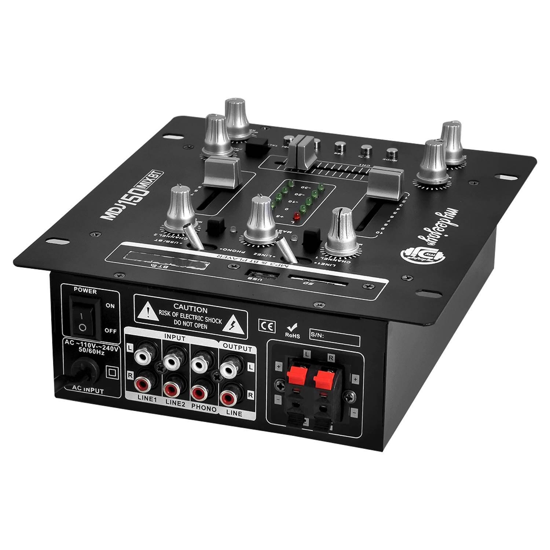 Mesa de mezclas amplificada 150 W USB/SD/Bluetooth - Pantalla LCD ...