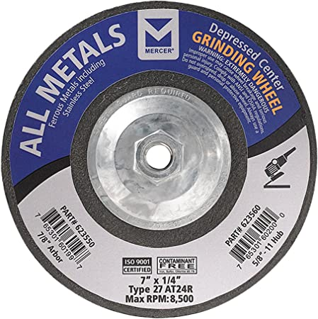 Mercer Industries 623560 Type 27 All Metals Grinding Wheel 10 Pack 7 x 1//4 x 5//8-11 Single Grit