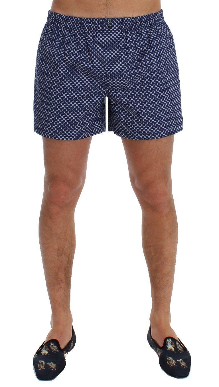 Dolce & Gabbana Blue Print Cotton Pajama Shorts