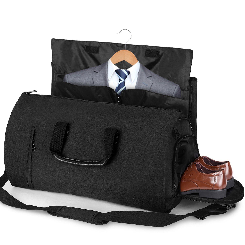 Carry-on Garment Bag Suit Travel Bag Duffel Bag Weekend Bag Flight Bag Gym Bag - Black by UNIQUEBELLA (Image #1)