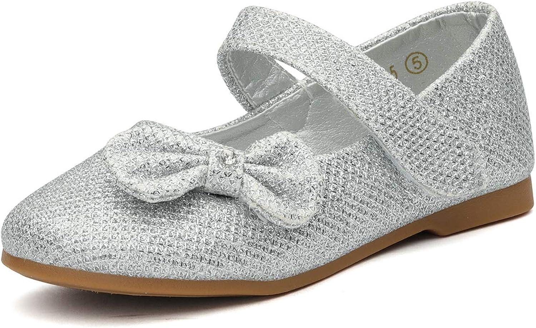 Dream Pairs CRYSTAL-2 Mary Jane Velcro Bowhnot Glitter Ballerina Flat (Toddler/Little Girl) New