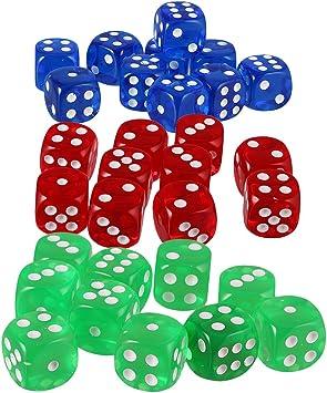 Sharplace 30 Piezas Dados de Puntos para Juegos de Mesa - D6, Hecho de Acrílico, Color Azul Verde Rojo: Amazon.es: Juguetes y juegos