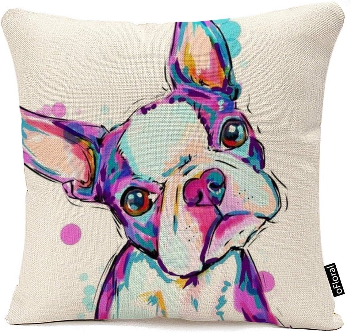 oFloral Animal Cushion Cover Boston Terrier Dog Decorative Cushion Covers Bulldog Throw Pillow Car Chair Home Decor Pillow Case for Sofa 18x18 Inches