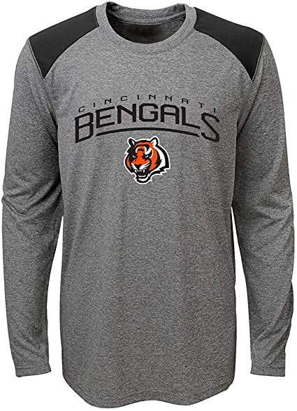 Heather Grey NFL Ultra Game Cincinnati Bengals Active Long Sleeve Tee Shirt X-Large