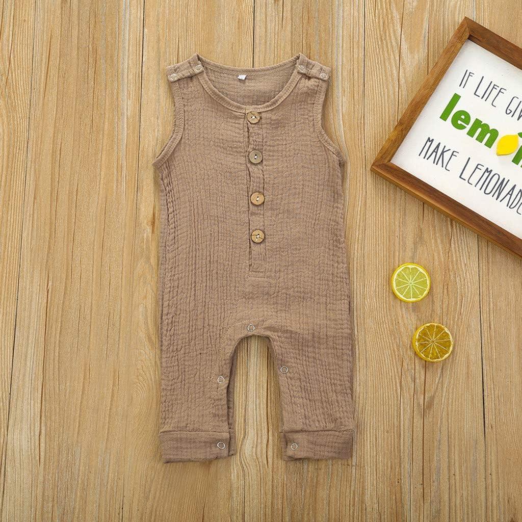 Newborn Infant Baby Boys Girls Button Solid Vest Summer Romper Jumpsuit Clothes Blue for 3-6 Months Little Children Janly Clearance Sale 0-24 Months Baby Romper