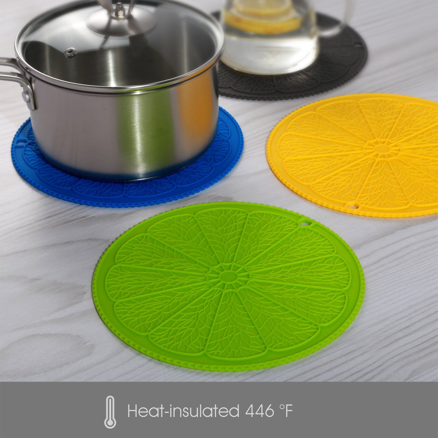 IDDOMUM Silicone Trivet (4-Piece Set) for Hot Pots, Dishes and Pans, Insulated Durable Hot Pads, Hot Holder(Color)