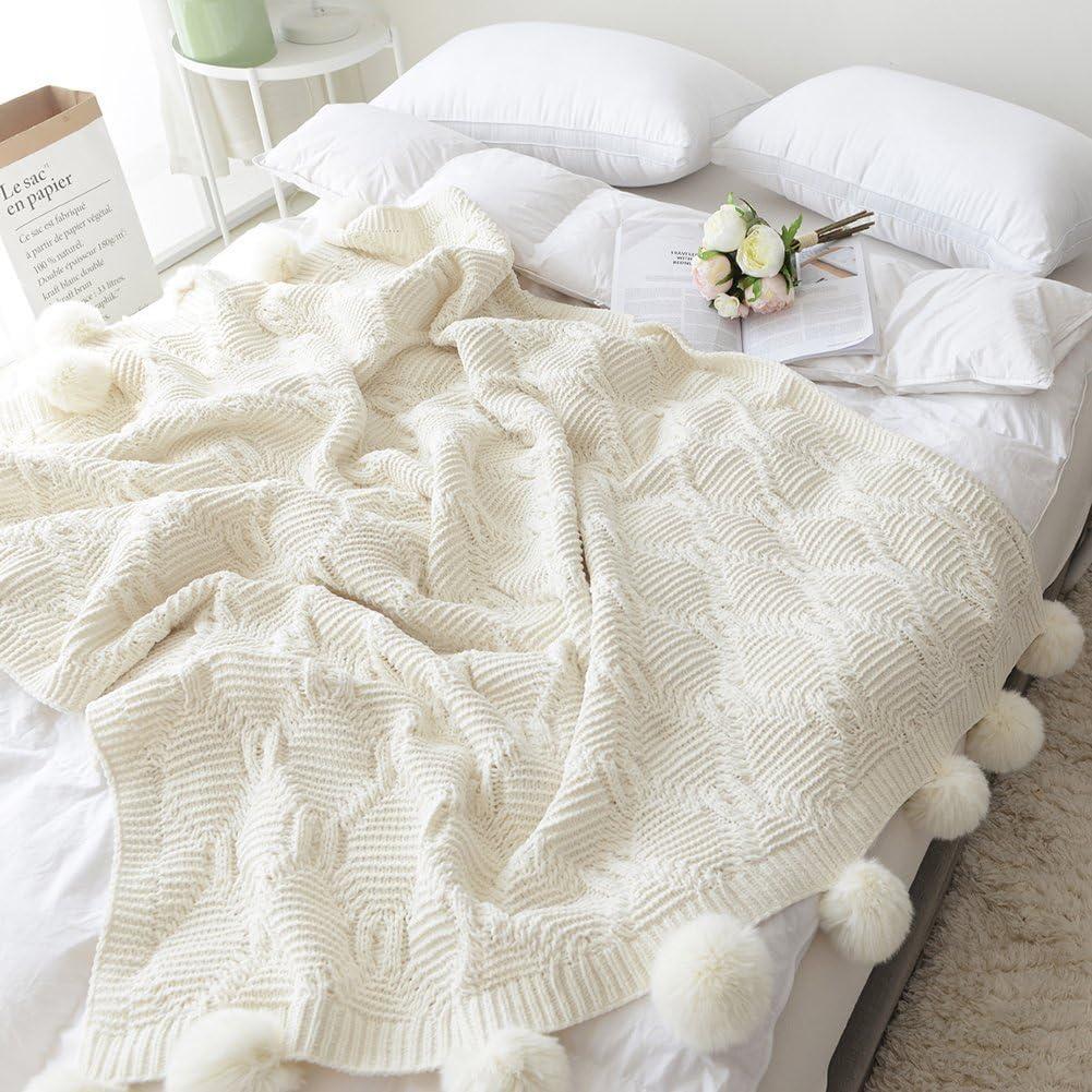 blanc pompons FNKSCRAFT® mignon Beige Pompons Couvertures Chut ménage décoration Housse en crochet Couverture Coton tricotée Plaids