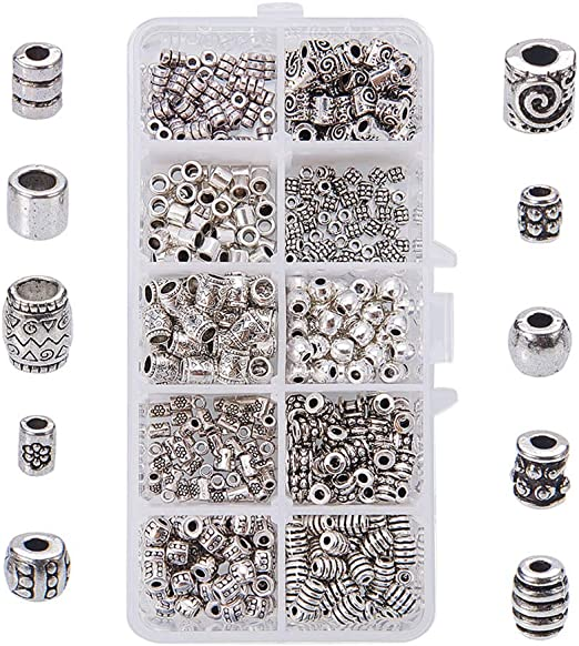 6 x 3 MM 50 x ANTIQUE SILVER~TUBE~TIBETAN STYLE~SPACER BEADS