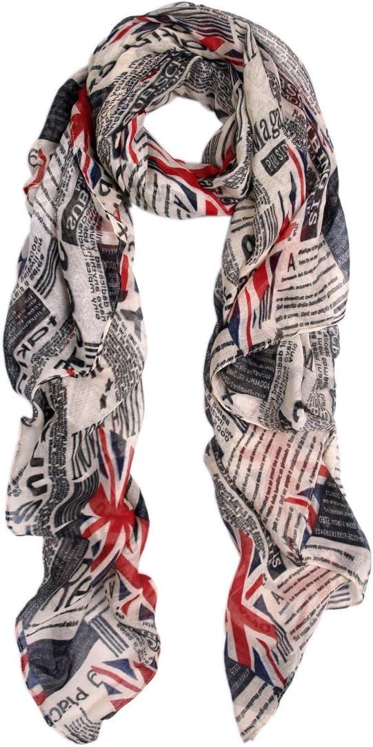 Off White Vintage British Flag Union Jack Print Fashion Scarf