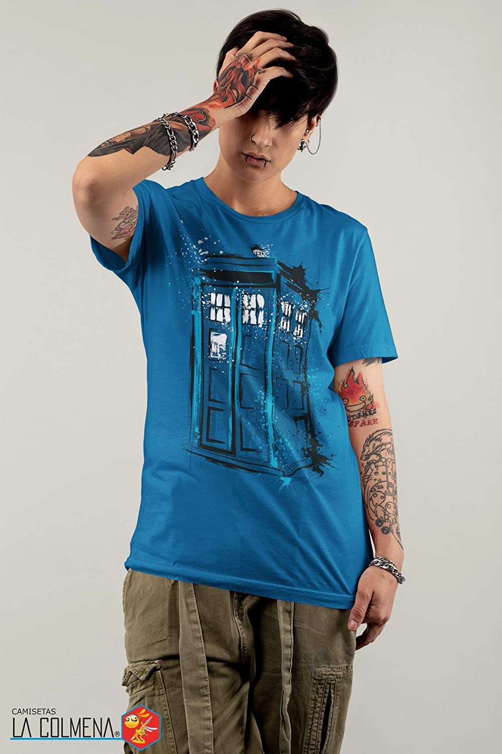 Camisetas La Colmena 308-Maglietta Parody Doctor Who Dr.Monekers Time And Space