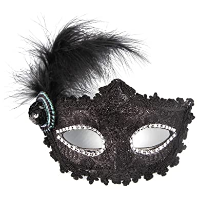 fb96bd2a8271d Amazon.com: Funny Party Venetian Lace Masquerade Mask Half Face for Dress  Ball Halloween with Feather Black: Toys & Games