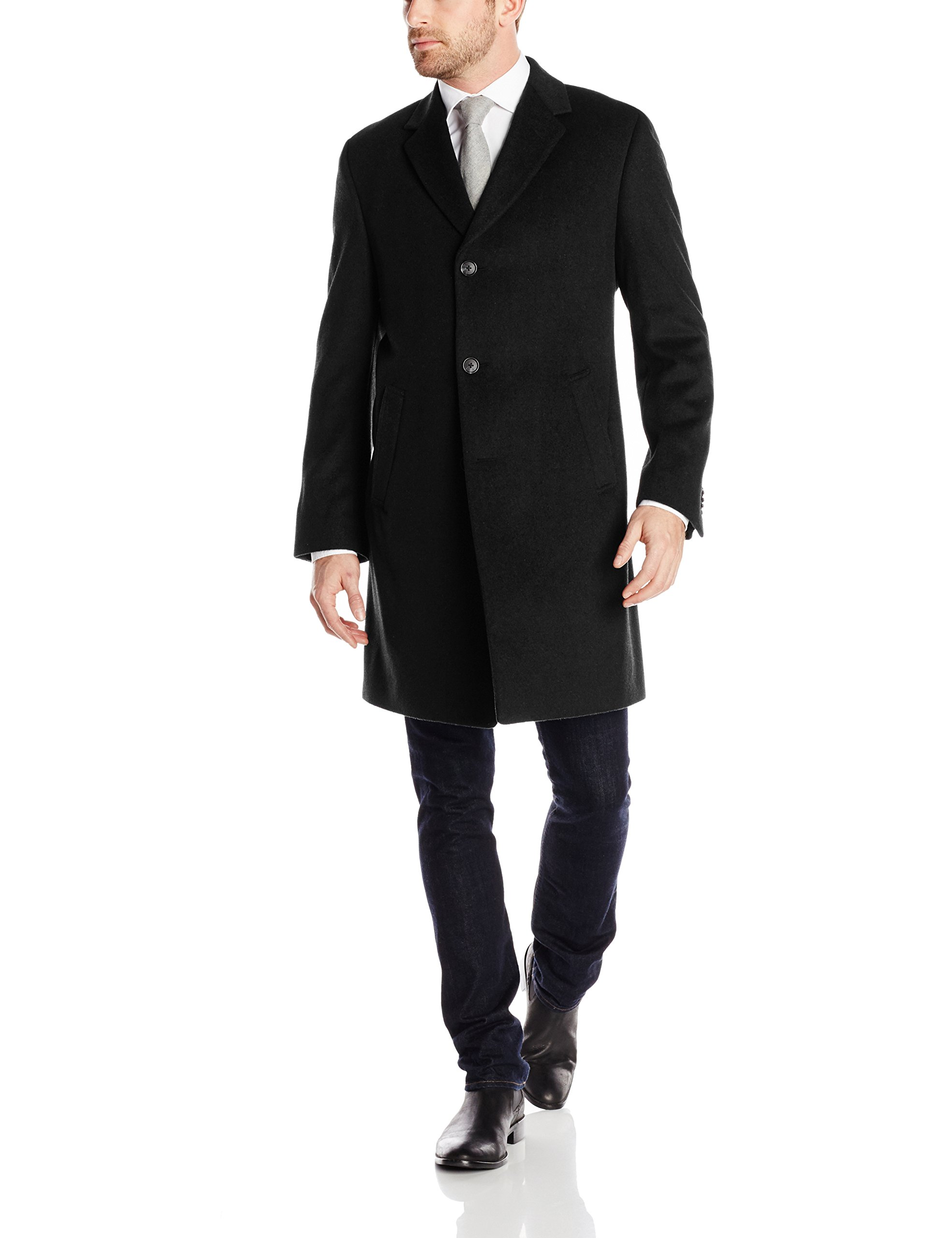 Kenneth Cole REACTION Men's Raburn Wool Top Coat, Black, 44 Regular by Kenneth Cole REACTION