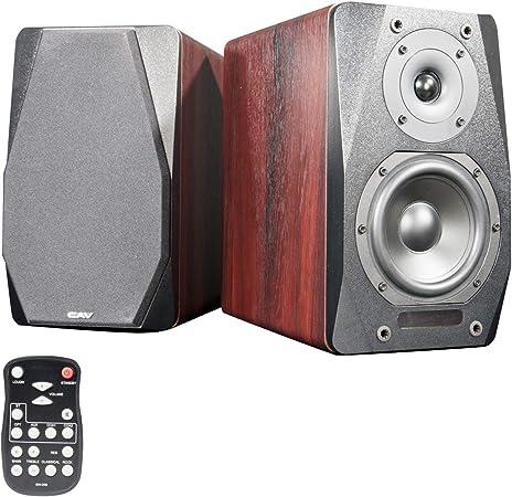 CAV Altavoces de estantería, Altavoces de Audio Activo Bluetooth 2.1 Canales RCA/Opt/AC/AUX/Entrada Doble de COA Control Remoto Alimentado para PC de ...