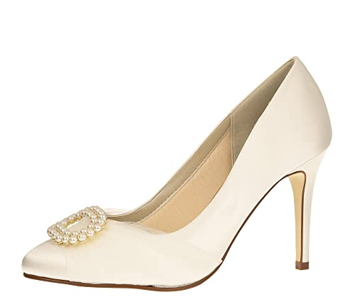 996c044f86555f Rainbow Club Brautschuhe Beatrice - Pumps High Heels - Ivory Creme Satin