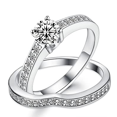 Sreema London 925 Sterling Silver Solitaire Tapering Migraine Women's Wedding Engagement Promise Ring Set IffR5w