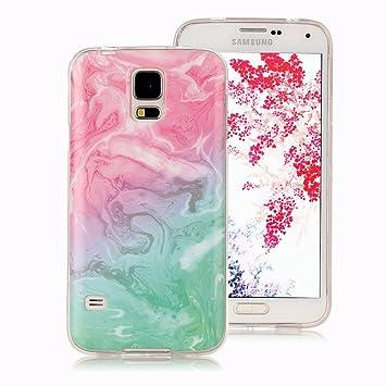 Funda Mármol para Samsung Galaxy S5, Ronger Carcasa Gel TPU Silicona Marble Case Cover Funda Ultra Fino Flexible con Patrón de Piedra para Funda ...