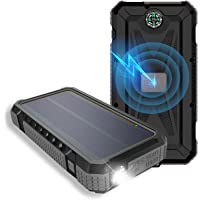 Wireless Solar Power Bank 20000mAh, Portable Solar Charger with Compass Ultra Bright LED Light Dual USB Ports External…