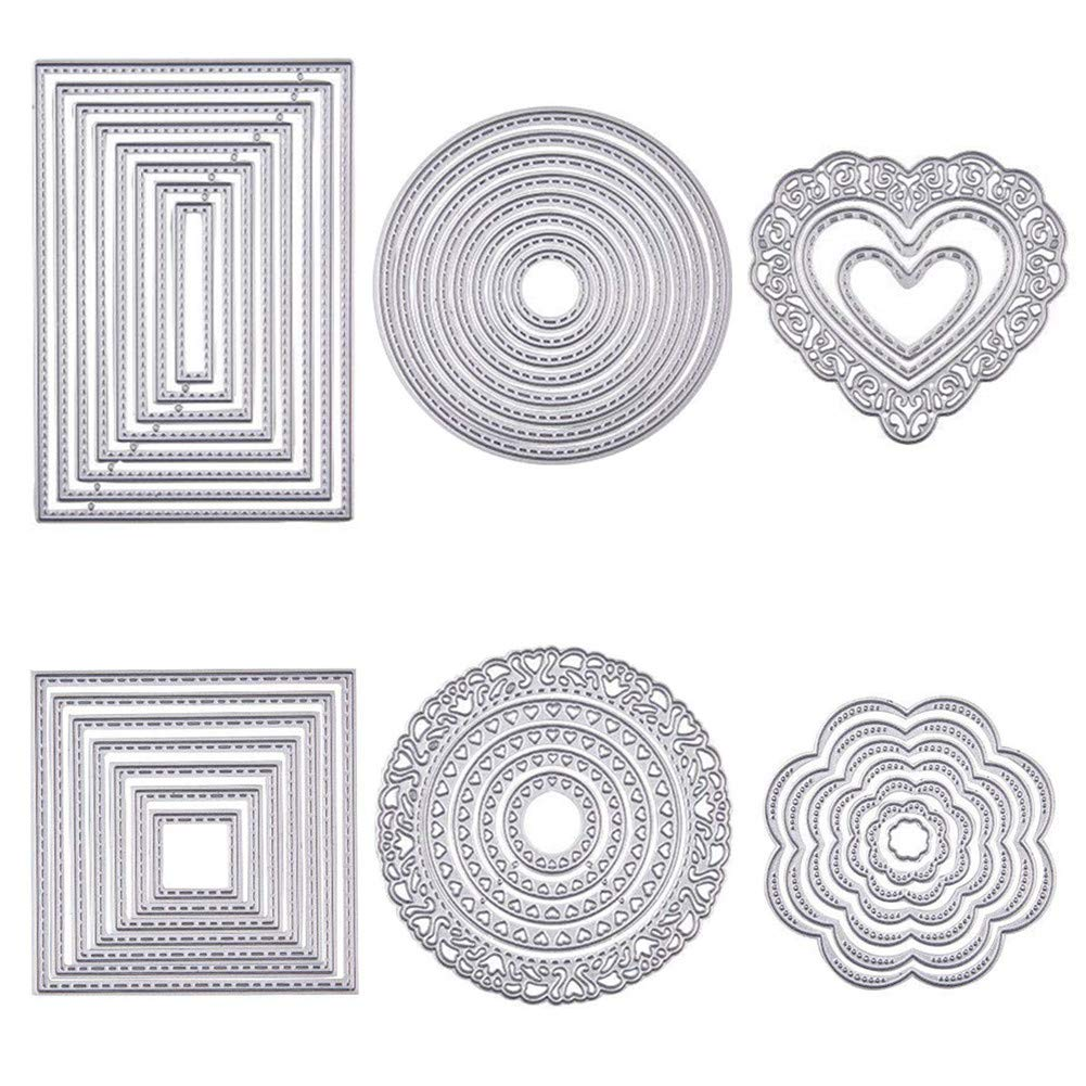 BENECREAT 6 Sets Cutting Dies Cut Metal Scrapbooking Stencils Nesting Die for DIY Embossing Photo Album Decorative DIY Paper Cards Making - Round, Square, Rectangle, Heart, Flower