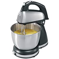 Hamilton Beach Classic Hand and Stand Mixer, 4 Quarts, 6 Speeds with QuickBurst, 290 Watts, Bowl Rest, Black and Stainless (64651), New
