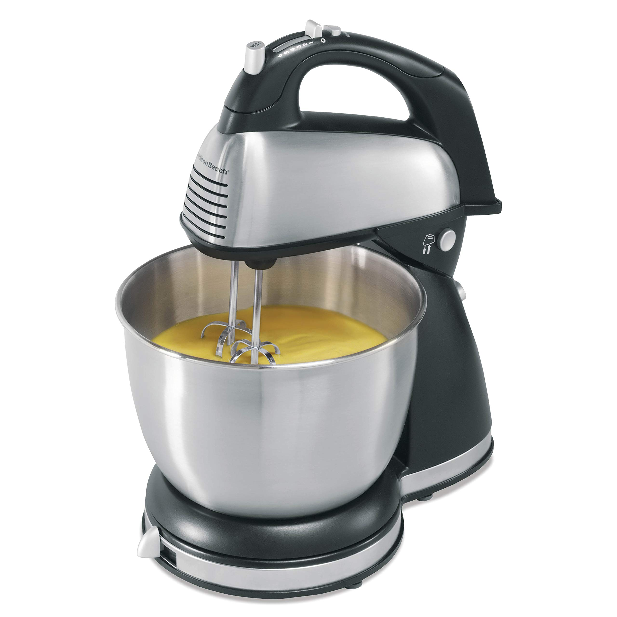 Hamilton Beach Classic Hand and Stand Mixer, 4 Quarts, 6 Speeds with QuickBurst, 290 Watts, Bowl Rest, Black and Stainless (64651), New by Hamilton Beach
