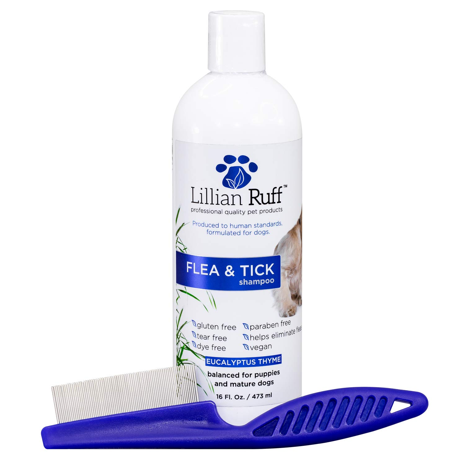 Lillian Ruff Flea and Tick Shampoo for Dogs with Aloe Vera - Soothe The Itch and Repel The Critters with Natural Essential Oils - Balanced for Puppies and Mature Dogs (16 oz with Flea Comb) by Lillian Ruff