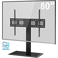 FITUEYES Tabletop TV Stand with +/-50 Degree Swivel Mount for 50 55 60 65 70 72 75 80 inch TV, Black Heavy Duty TT107003GB