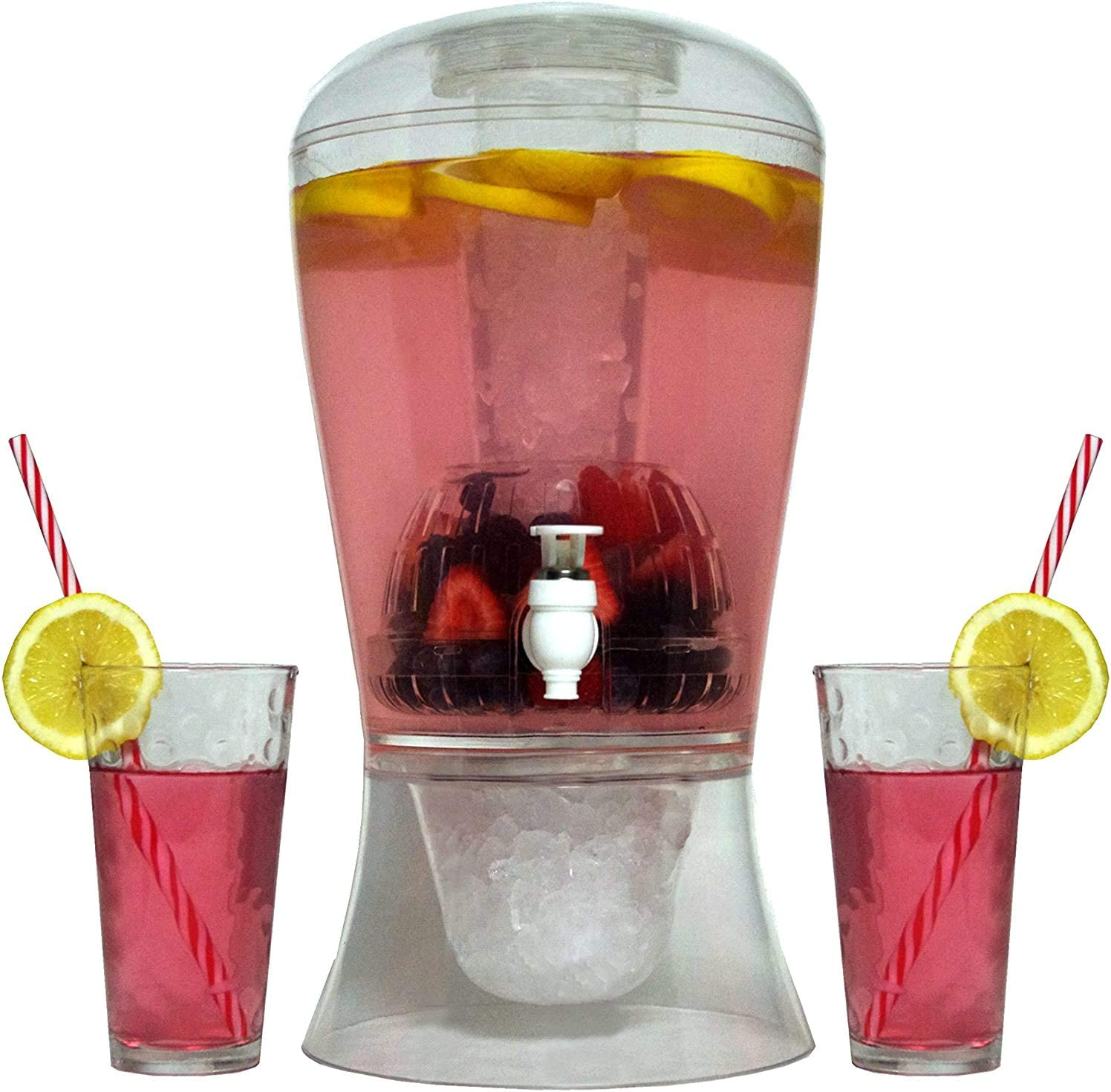 Large 2 Gallon Beverage Dispenser on Stand with Spout – Ice Base and Core Keep Juice and Drinks Cold – Shatterproof Acrylic Jug with Fruit and Tea Infuser(Non Cups)