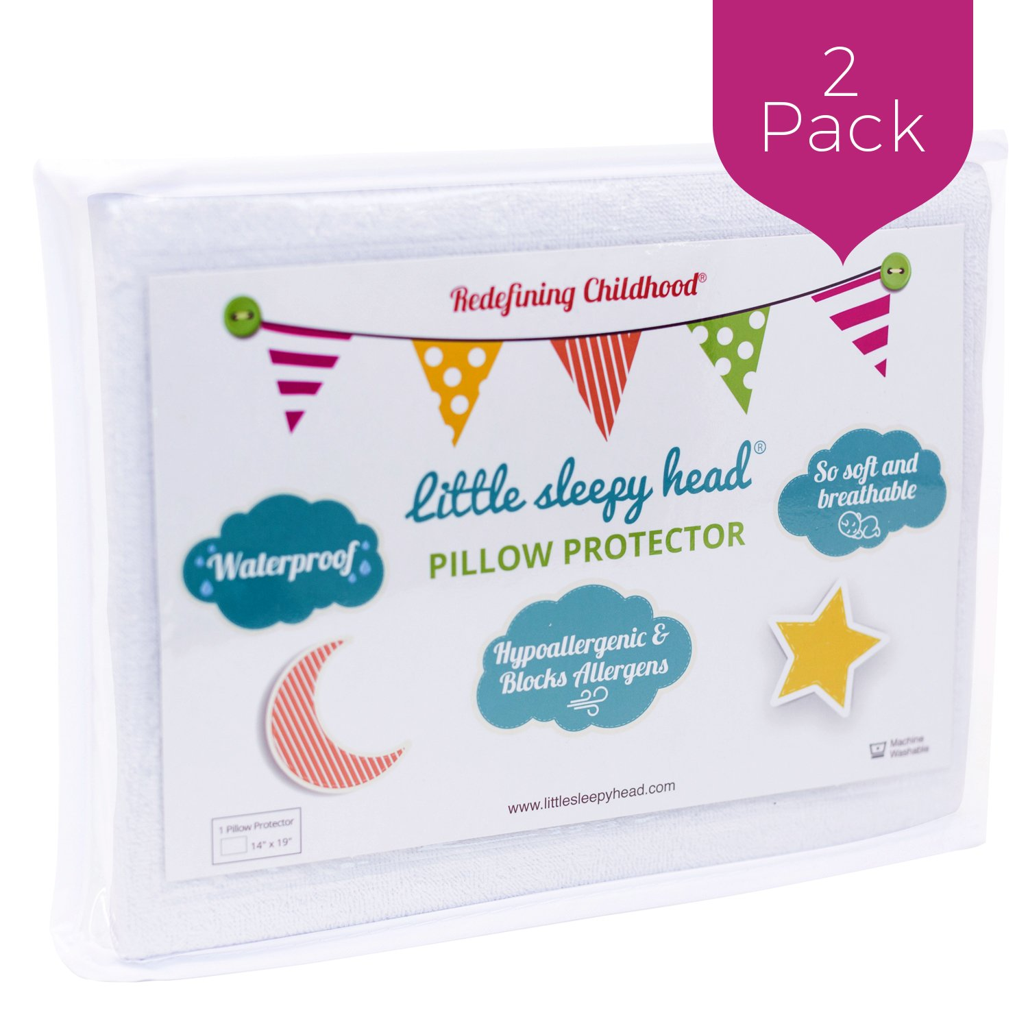 Little Sleepy Head Toddler Pillow Protectors (2-Pack)