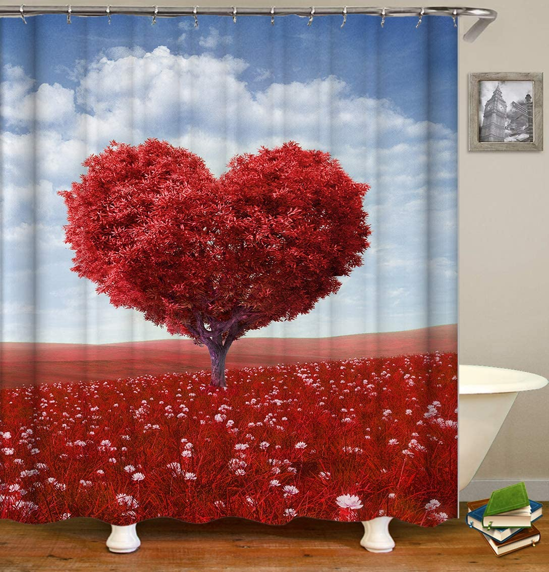 LJJJZS Cortinas de Ducha Árbol de Amor Rojo Mamparas de baño Decoración para el hogar Tejido de poliéster Impermeable y a Prueba de Moho con 12 Ganchos 180 * 180 cm: Amazon.es: Hogar