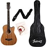 Juarez JRZ 38C/Zeb 6 Strings Acoustic Guitar 38 Inch Cutaway, Right Handed, Zebrawood With Bag, Strings, Picks And Strap