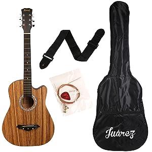Juarez JRZ 38C/Zeb 6 Strings Acoustic Guitar 38 Inch Cutaway,...