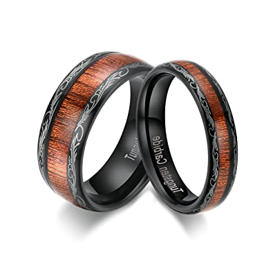 10fe7b32f443d TIANYI 5mm/8mm Wedding Bands Domed Koa Wood Tungsten Carbide Couple Rings  Black Color Comfort Fit