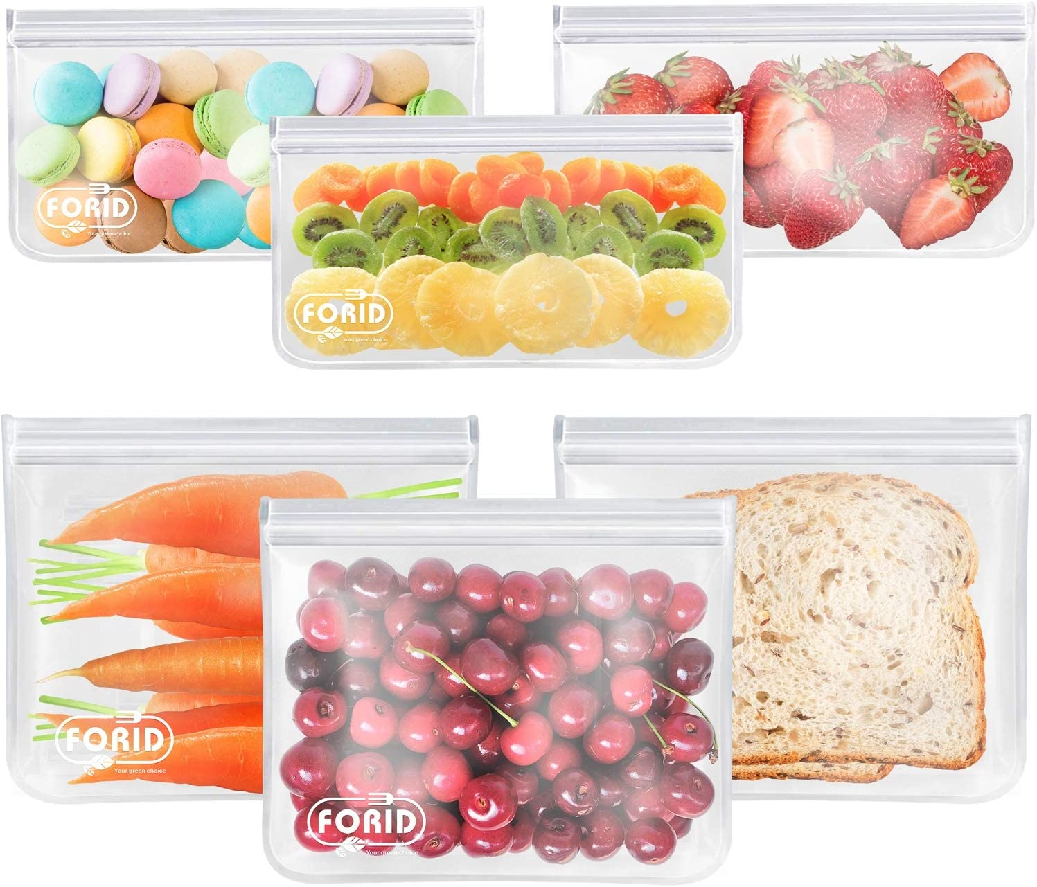 Reusable Storage Bags - 6 Pack BPA FREE Freezer bags (3 Reusable Sandwich Bags & 3 Reusable Snack Bags) FDA Grade Lunch Bag with Zip-lock for Food Travel Items Storage EXTRA THICK Leakproof