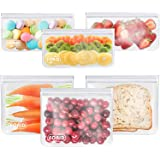 Reusable Storage Bags - 6 Pack BPA FREE Freezer bags (3 Reusable Sandwich Bags & 3 Reusable Snack Bags) FDA Grade Lunch…