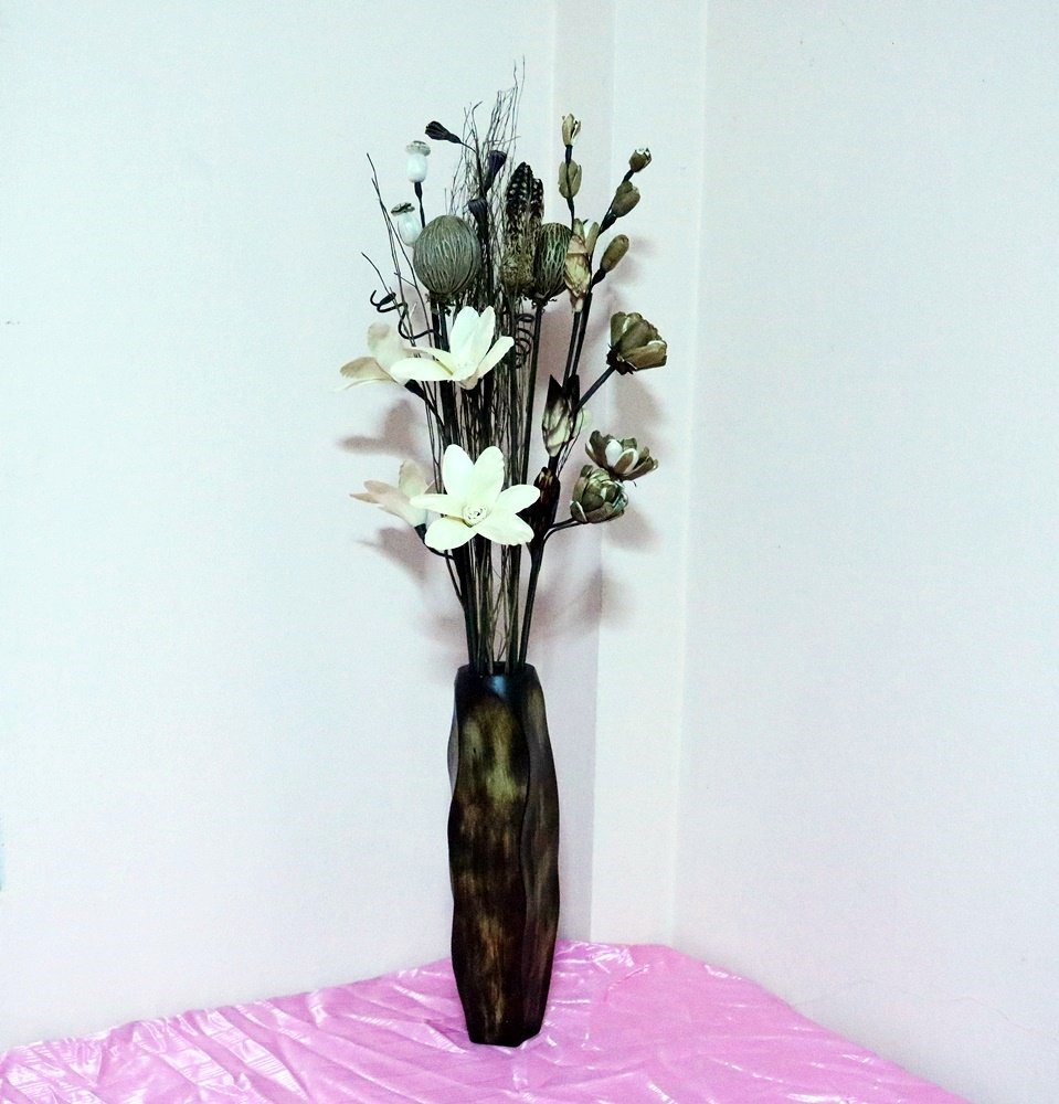 CONSERVE Thailand : Tall Floor Vase Wood Brown Stripes waves (Large), Height 16 inch by Skilled Technicians From Thailand.