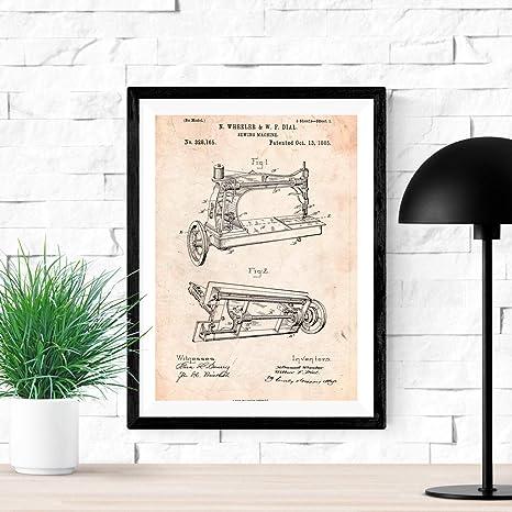 Nacnic Poster de Patente de Maquina de Coser. Lámina para enmarcar. Poster con diseños, Patentes, Planos de inventos ...