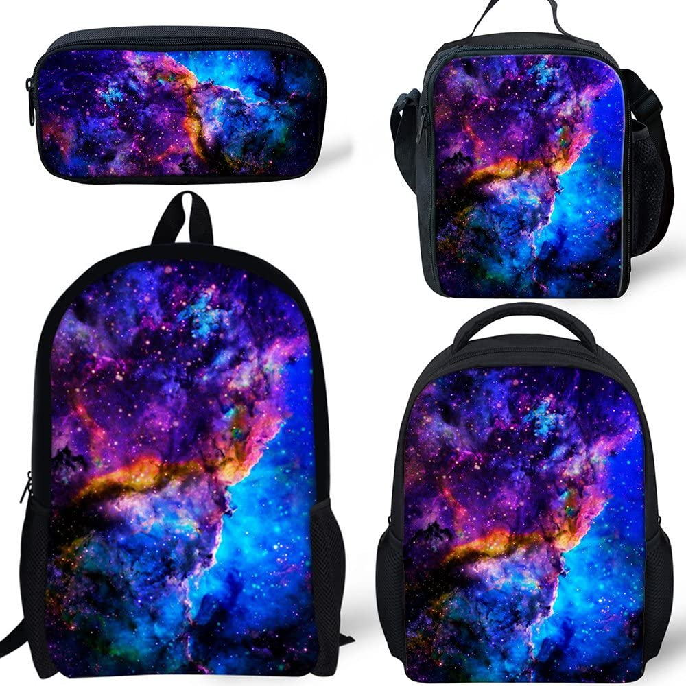 Galaxy Backpack 4 Sets Student Colleage School Book Bag Durable Boys Girls