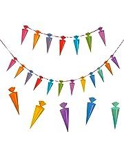 Oblique Unique® Schulanfang Zuckertüten Girlande - Schuleinführung Girlande - Zuckertüte Kinder Schüler Zuckertüten Fest Dekoration - Wunderschöne farbenfrohe Girlande zur Schuleinführung