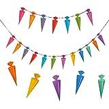 10 verschiedene Farben 12cm Länge 40 Deko Schultüten