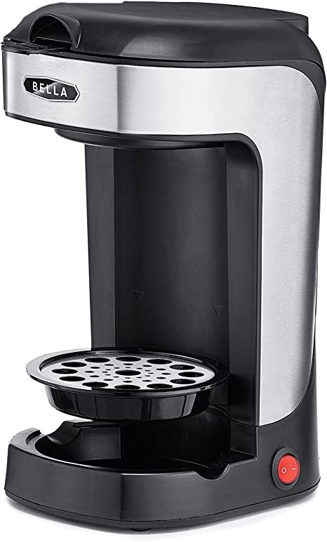 BELLA One Scoop Single Serve Personal Coffee and Tea Maker color stainless steel and black by BELLA