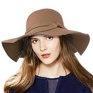 d81e9c22f09 Vbiger Fedora Hat Floppy Hat Bowler Hat Wool Wide Brim Hat Vintage for Women