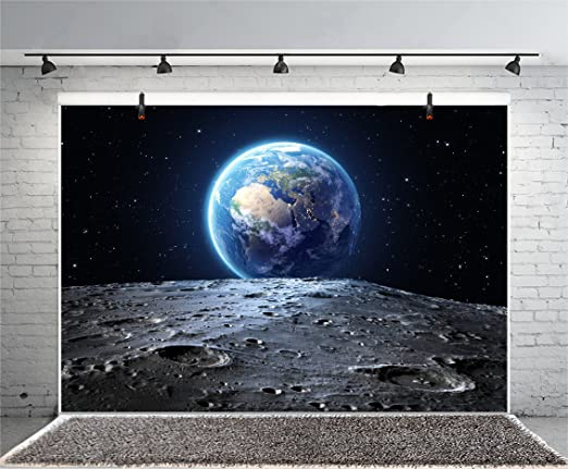 8x12 FT Fantasy Vinyl Photography Backdrop,Alien Planet with Earth Moon and Mountain Fantasy Sci Fi Galactic Future Cosmos Art Background for Baby Shower Bridal Wedding Studio Photography Pictures