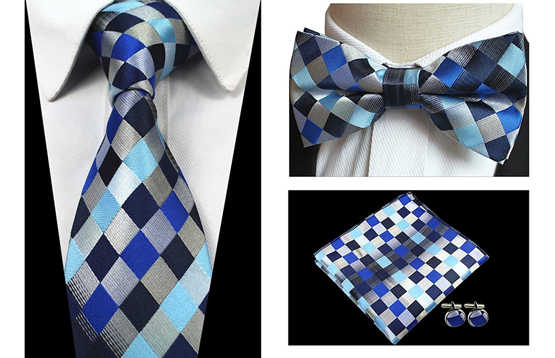 L04BABY Mens Plaid Striped Necktie Tie Set:Ties+Handkerchief+Bowtie+2xCufflinks