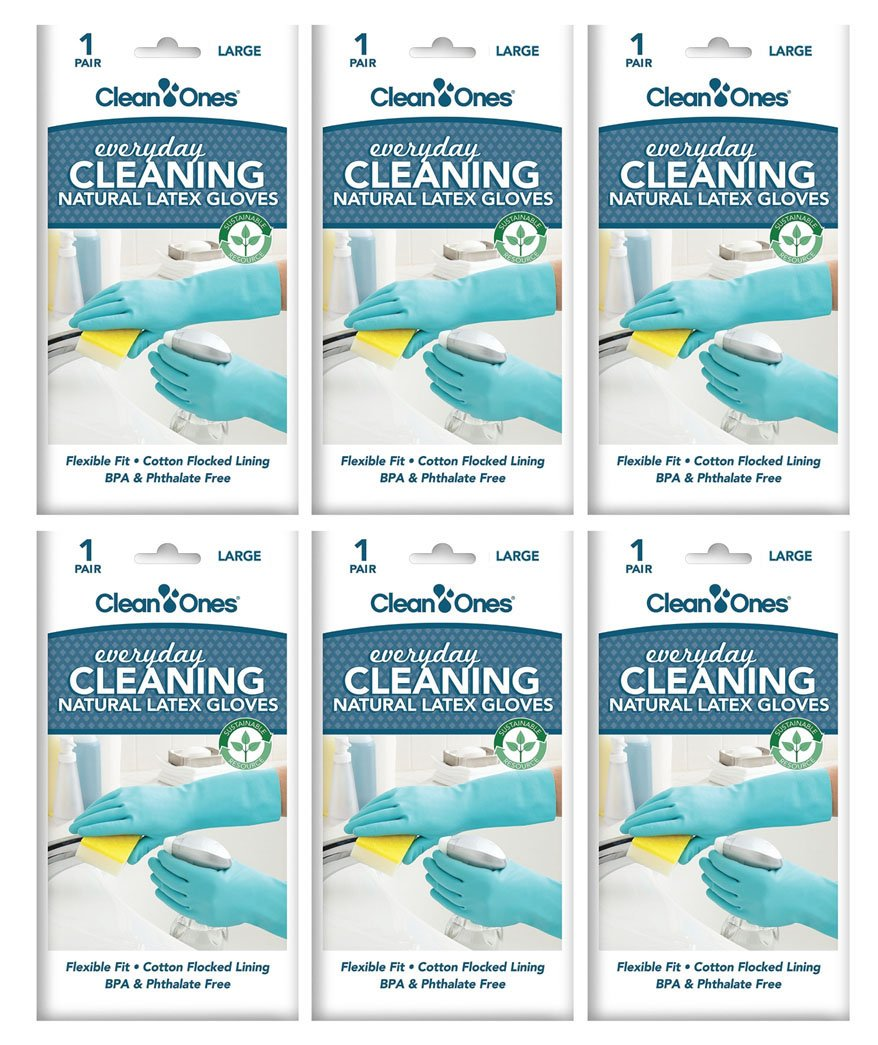 Clean Ones Everyday Cleaning,Kitchen Rubber Cleaning Gloves Dishwashing Clean Latex Glove - 6 Pair (Large)